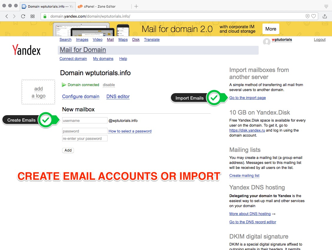 Create / Import Emails